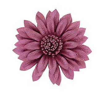Pink Leather Daisy Flower Adjustable Ring