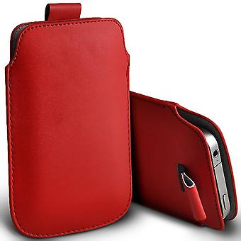 ONX3 (Red) Samsung Galaxy J7 Prime G610F Case High Quality Pouch Sleeve Faux Leather Case Cover with Pull Tab Cord Slip In