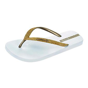 Ipanema Sparkle Womens Flip Flops / Sandals -White Gold