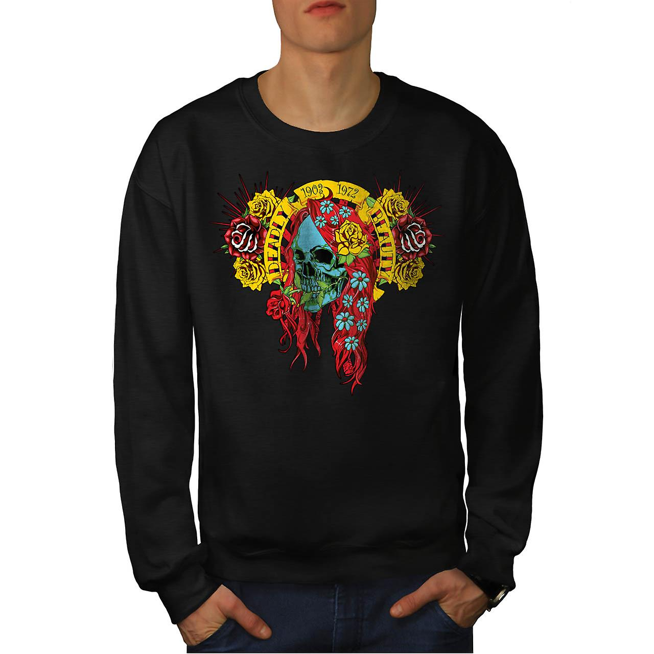 Deadly Beauty Skull Ugly Death Men Black Sweatshirt | Wellcoda