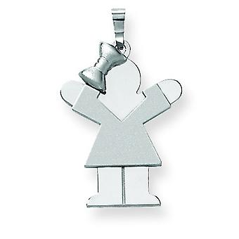 14k White Gold Medium Girl Bow on Left Engraveable Charm - 2.4 Grams