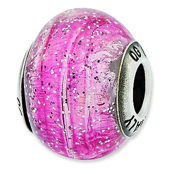 Sterling Silver Polished Antique finish Italian Murano Glass Reflections Italian Light Pink With Silver Glitter Glass Be