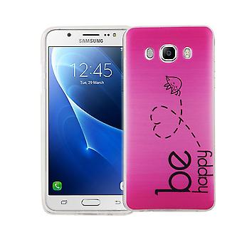 Cell phone case for Samsung Galaxy J5 2016 cover case protective bag motif slim silicone TPU be happy pink