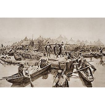 England 2000 Years Ago The Landing Stage Of Prehistoric Lake Village Near Glastonbury From A Reconstructuin Drawing By A Forrestier From The Book The Outline Of History By HGWells Volume 1 Published 1