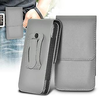 ONX3 (Grey) BLU Grand Max Case Premium Vertical Faux Leather Belt Holster Pouch Cover
