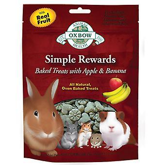 Oxbow simpel belønninger bagt godbidder med Apple & bananer 60g (Pack af 8)