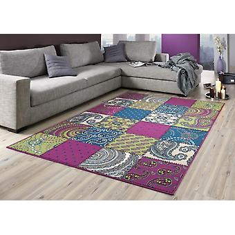 Design velour carpet patchwork look colorful 101728