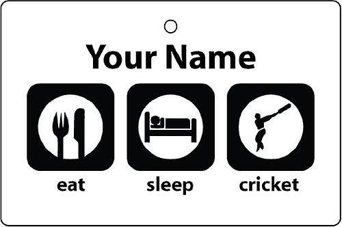 Personalised Eat Sleep Cricket Car Air Freshener
