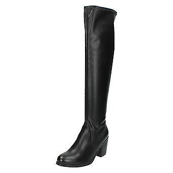 Womens Spot On High Block Heel Knee Length Boot F50352