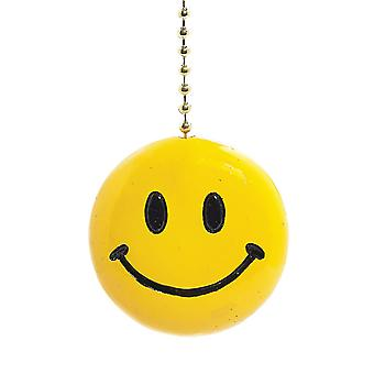 Sunny Yellow Iconic Smiley Face Decorative Ceiling Fan Light Pull 3 Dimensional