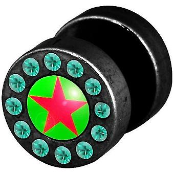 Fake Funky Cheater Ear Plug, Earring, Body Jewellery, Green Red Star with Stones