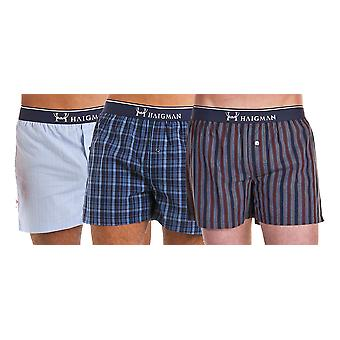 Mens Haigman Woven Printed 100% Cotton boxer shorts Underwear 6 PK