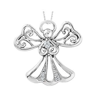 Angel of Kindness Pendant Necklace in Sterling Silver with Synthetic Cubic Zirocnias