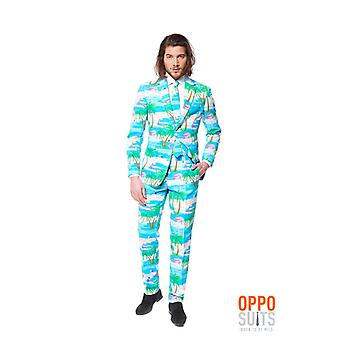 Opposuit Flaminguy tropical Flamingo slimline Premium 3-piece suit