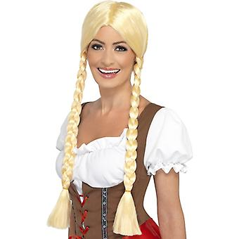 Bavarian girl school girl wig with two long braided plaits