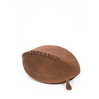 Hunter Rugby Ball Leather Wash Bag in Tan