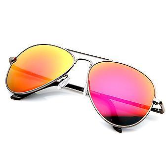 Premium-klassische Metallrahmen Flash-Spiegel Objektiv Pilotenbrille