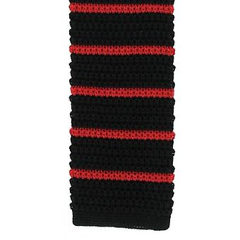 Michelsons of London Silk Knitted Striped Skinny Tie - Black/Red