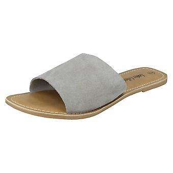 Ladies Leather Collection Flat Mule Sandals F00072