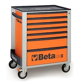 Beta C24S 7/O Orange Mobile Roller Cabinet With Seven Drawers