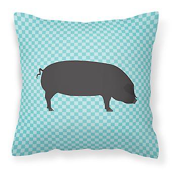 Devon Large Black Pig Blue Check Fabric Decorative Pillow