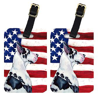 Pair of USA American Flag with Great Dane Luggage Tags