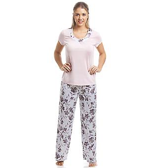 Camille Pink kort erme Floral Pyjama sett