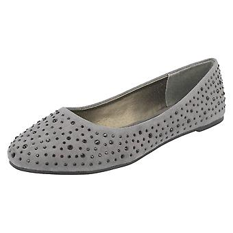 Ladies Spot On Flat Diamante Ballerinas F80323