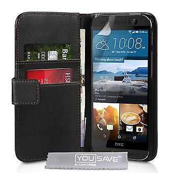 HTC One M9 Plus läder-effekt plånbok väska - svart