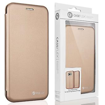 Samsung Galaxy S7 Edge PU Leather Stand Wallet- Gold