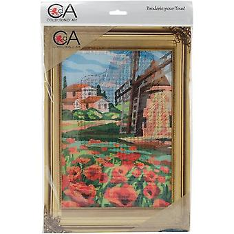 Collection D'Art Stamped Needlepoint Kit 38X24cm-Windmill And Poppies CD6310K