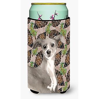 Italian Greyhound Pine Cones Tall Boy Beverage Insulator Hugger