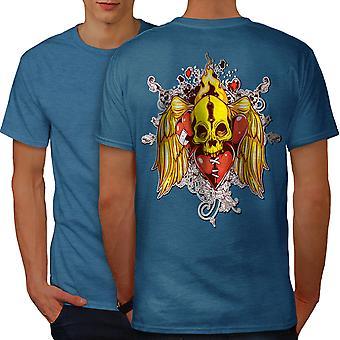 Heart Angel Fire Skull Men Royal BlueT-shirt Back | Wellcoda