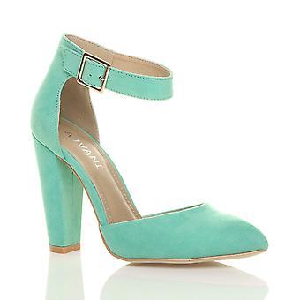 Ajvani damskie bloku wysokiej pięty mankiet kostki pasek klamra wskazał sąd buty sandały pompy