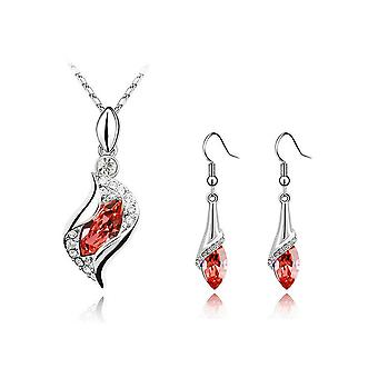 Womens Red Stone Necklace Earrings Jewellery Set