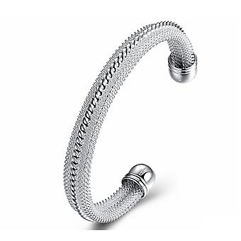 Womens Silver Bangle Bracelet Weave Design