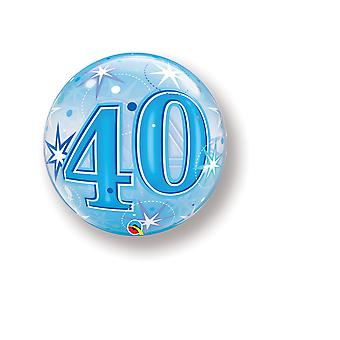 Balloon Bubbel ball number 40 birthday Blue Star about 55 cm