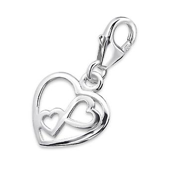 Double Heart - 925 Sterling Silver Charms with Lobster