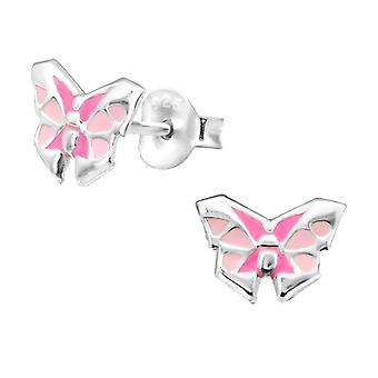 Origami Butterfly - 925 Sterling Silver Colourful Ear Studs