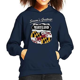 Seasons Greetings Maryland State Flag Christmas Kid's Hooded Sweatshirt