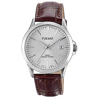 Pulsar Mens Brown Alligator Pattern Leather Strap PS9455X1 Watch