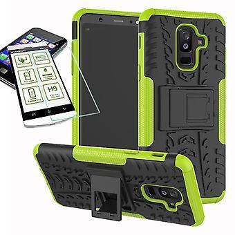 Hybrid Case 2teilig Grün für Samsung Galaxy A6 Plus A605 2018 + Hartglas Tasche Hülle Cover
