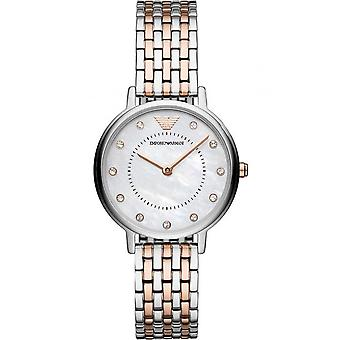 Armani Watches Ar11094 Mother Of Pearl Dial, Silver & Rose Gold Stainless Steel Ladies Watch