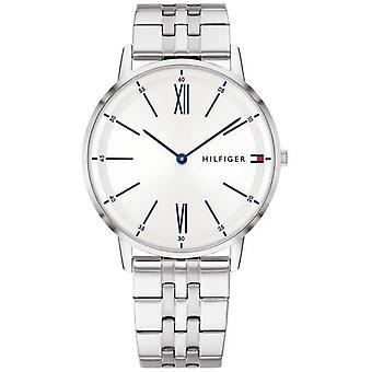 Tommy Hilfiger Mens acier inoxydable bleu accentués cadran argenté 1791511 Watch