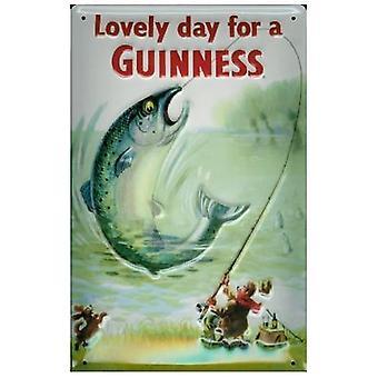 Guinness de pescado acero letrero realzado (Hola 300 X 400 Mm)