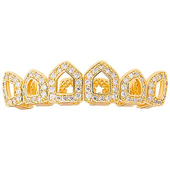 One size fits all top Grillz - CUBIC ZIRCONIA open, gold