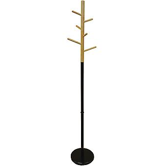 Scandi - Wood And Metal Coat Rack With 6 Pegs - Natural / Black
