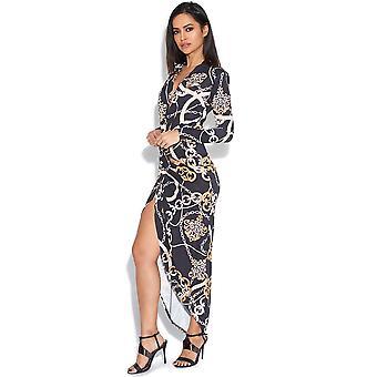 Chain Print Plunge Dress