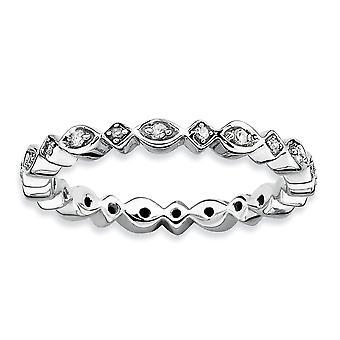 Sterling Silver polerat Prong ställa mönstrad rodium-plated stapelbar uttryck diamantring - Ring storlek: 5 till 10