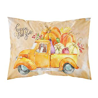 Fall Harvest Basset Hound Fabric Standard Pillowcase